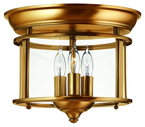 Hinkley Brass Outdoor Lighting - Hinkley 3473HR Traditional Three Light Flush Mount from Gentry collection in Brassfinish,