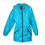 ShedRain Women's Packable Fashion Teal Color Anorak Rain Jacket, S/M-4/6, Teal