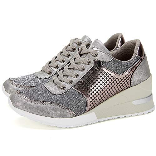 High Heeld Wedge Sneakers for Women - Ladies Hidden Sneakers Lace Up Shoes, Best Chioce for Casual and Daily Wear SM1-SILVER-7