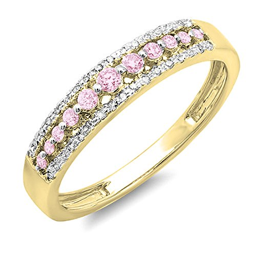 Dazzlingrock Collection 14K Round Pink Sapphire & White Diamond Ladies Anniversary Wedding Band Ring, Yellow Gold, Size 7 (Diamond Engagement Rings With Pink Sapphire Accents)