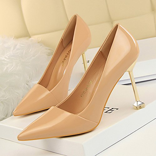 Autumn Yukun 39 Heels Cat Leather Patent High With Stiletto 10 heels Red Nude Night High Cm Wild Pointed Female Black fr0fTqw