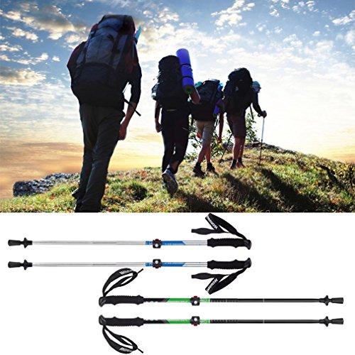 Naturehike Folding Handle Cane Adjustable Removable Aluminum Hiking Walking Travel Stick (green)