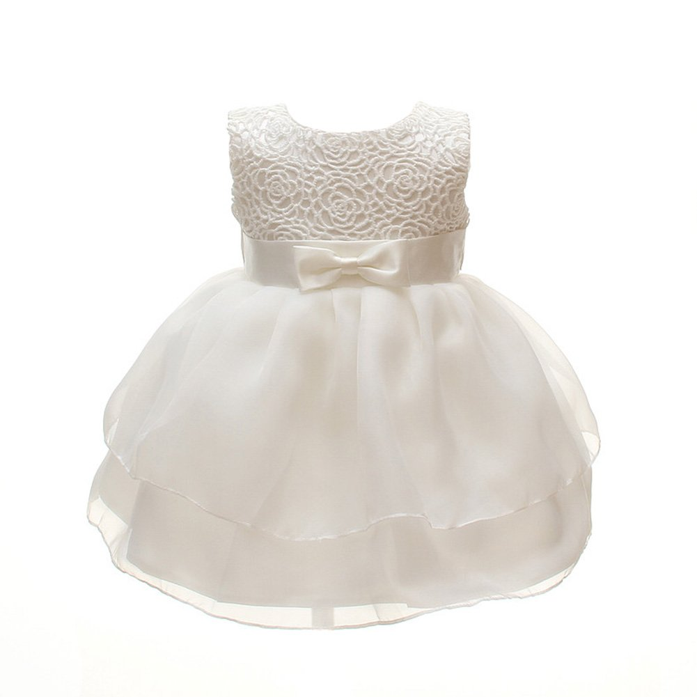 Meiqiduo Baby Girls Dresses Christening Wedding Pageant Bow Formal Dress Ivory White D-M2089