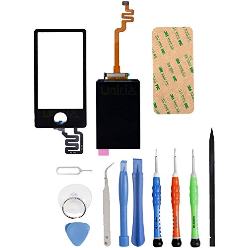 Price comparison product image Unifix Digitizer Touch Screen Lens Panel + LCD Display Screen for iPod Nano 7th Gen + Repair Tool Kit