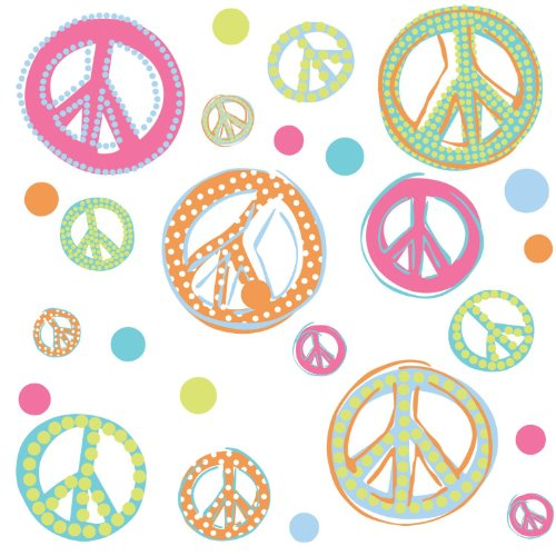 RoomMates Peace Signs Peel and Stick Wall Decals with -