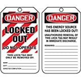 Accuform MLT407PTP Tag, Danger Locked Out Do Not Operate, 5 7/8'' X 3 3/8'', Rv-plastic, 25/pk