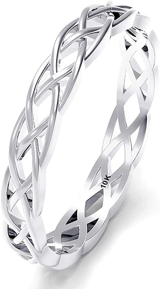 10K White Gold 3MM Eternity Celtic Stackable Wedding Knot Band R Our shop OFFers the best service Attention brand