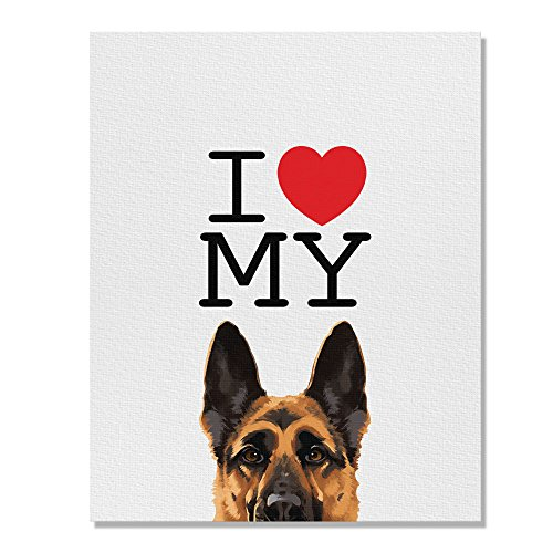 Wayfare Art, I Love My German Shepherd Dog Canvas Prints Artwork Wall Art Poster for Home Office Living Room Decorations 8 x 10 inch