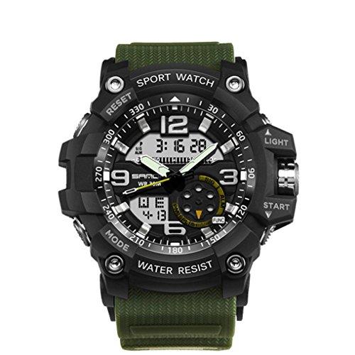 Siviki Men's Military Sport Wrist Watch Quartz Dual Movement with Analog-Digital Display Watches for Men (Army (Military Quartz Bracelet)
