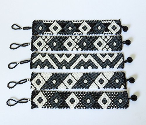 African Zulu beaded flat bracelet small - Black/white/gunmetal