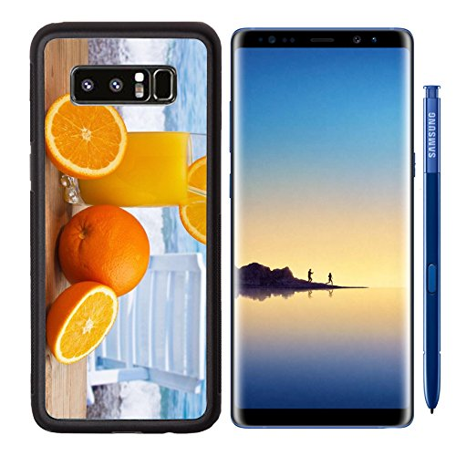 MSD Premium Samsung Galaxy Note8 Aluminum Backplate Bumper Snap Case IMAGE ID: 12540334 Glass of orange juice on a beach table
