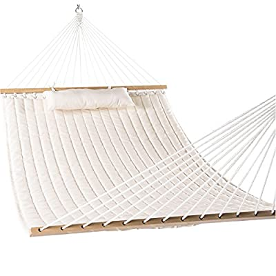 Lazy Daze Hammocks Double Quilted Fabric Swing with Pillow hammocks, 55'', Natural - 【SUPER COMFY The double-layered quilted polyester with inner polyester padding and a polyethylene stuffing head pillow offer superior comfort. No matter it's in summer or winter, this hammock will always be your first choice for relaxation. 【SUPER DURABILITY Handcrafted polyester ropes add character and authenticity, and thickness of the end cords contribute greatly to the balance and strength of the hammock. Lay in the hammock with no concern ever. 【SUPER LOOK】55 inches durable Hardwood spreader bar with powder coated in an oil rubbed finish, making it more stable and stylish as well as maximizing style. Believe in us, whoever sees this hammock will envy you. - patio-furniture, patio, hammocks - 51xdpYAGD5L. SS400  -