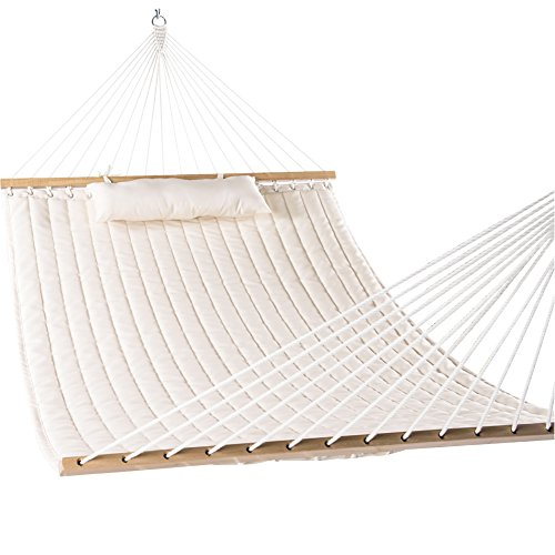 Flat Natural Construction Canvas - Lazy Daze Hammocks Double Quilted Fabric Swing with Pillow hammocks, 55'', Natural