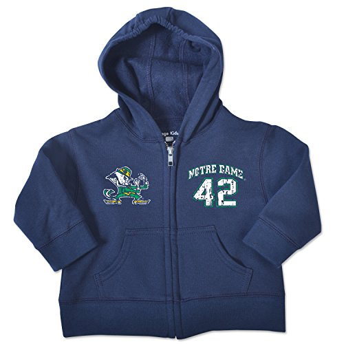 NCAA Notre Dame Fighting Irish Toddler Zip Hood, 2 Toddler, Navy