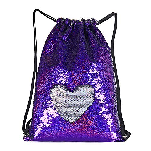 (WOYYHO Mermaid Reversible Sequin Bags Purse for Girls, Flip Sparkle Sequin Duffel Bag Drawstring Backpack Suitable for Travel Gym Dance Overnight and Daily Use)