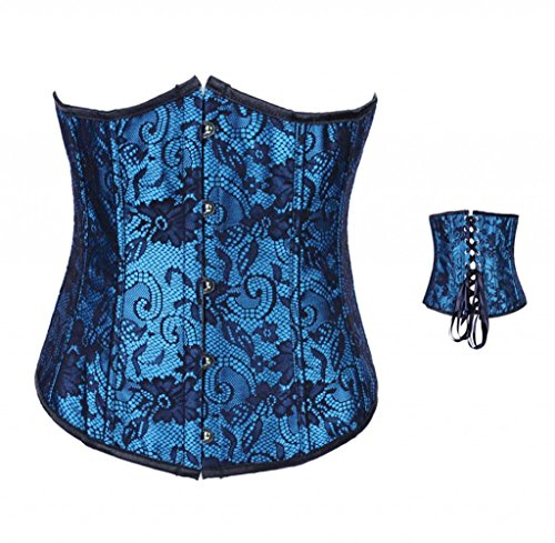 Bslingerie Womens Victorian Black Brocade Underbust Boned Corset (L, Blue)