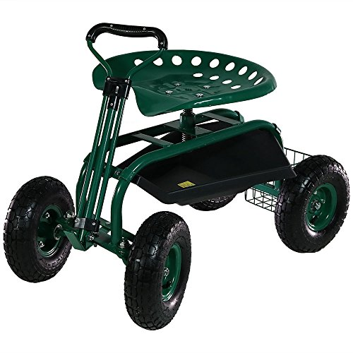 Sunnydaze Garden Cart Rolling Scooter with Extendable Steering Handle, Swivel Seat & Utility Basket, Green ()