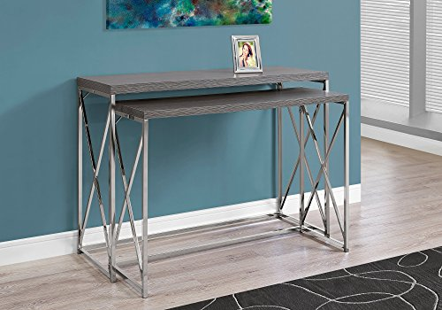 Monarch Specialties I 3227 Grey with Chrome Metal Console Table (2 Piece), 46