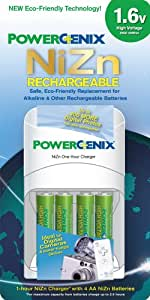 PowerGenix ZR-PGX1HRAA-4B 1 Hour Quick Charger with 4 AA 1.6v NiZn Rechargeable Batteries