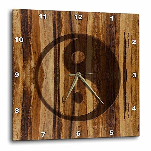 3dRose dpp_25393_2 Branded Wood Print Ying and Yang Symbol-Wall Clock, 13 by 13-Inch