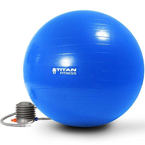 Titan Fitness Exercise Stability Ball Blue 65cm Yoga Pilates Anti Burst w/Pump
