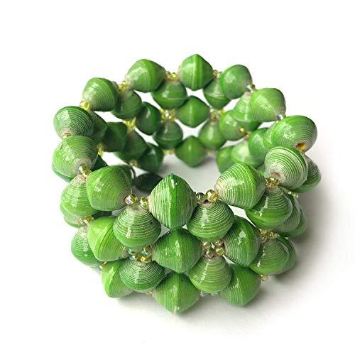 Paper Bead Stretch Imara Cuff Bracelet - Green - Fair Trade BeadforLife Jewelry from Africa ()