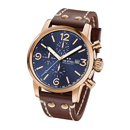 (TW Steel Maverick Stainless Steel Quartz Watch with Leather Calfskin Strap, Brown, 24 (Model: MS84))