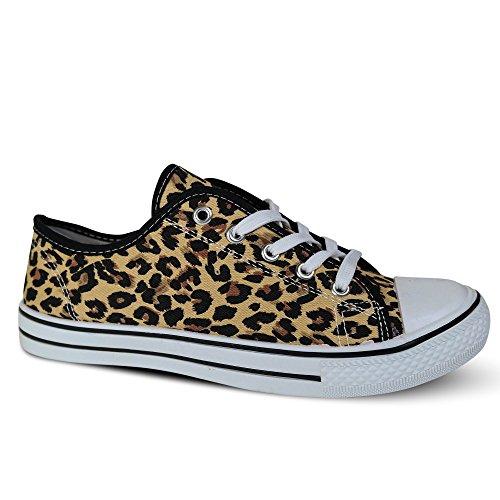 Schuhtraum Damen Sneakers Turnschuhe Slipper Stoffschuhe Runners Leopard ST109 Leopard