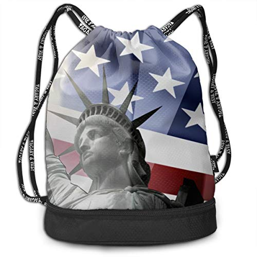 Girls Boys Drawstring Bag Theft Proof Lightweight Beam Backpack, Swim Shoulder Backpack - Patriotic Statue Of Liberty With American Flag Water Resistant Backpack Soccer Basketball Bag -