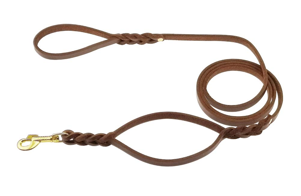 kgt Genuine Leather Braided Double Handles Dog Leash Training Dog Leashes (6.5 Ft-1/2 in) by kgt