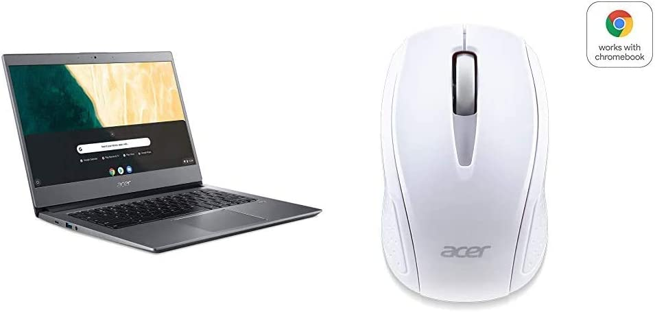 """Acer Chromebook 714, Intel Pentium Gold 4417U, 14.0"""" Full HD Display, 8GB DDR4, 64GB eMMC with Acer Wireless White Mouse M501"""