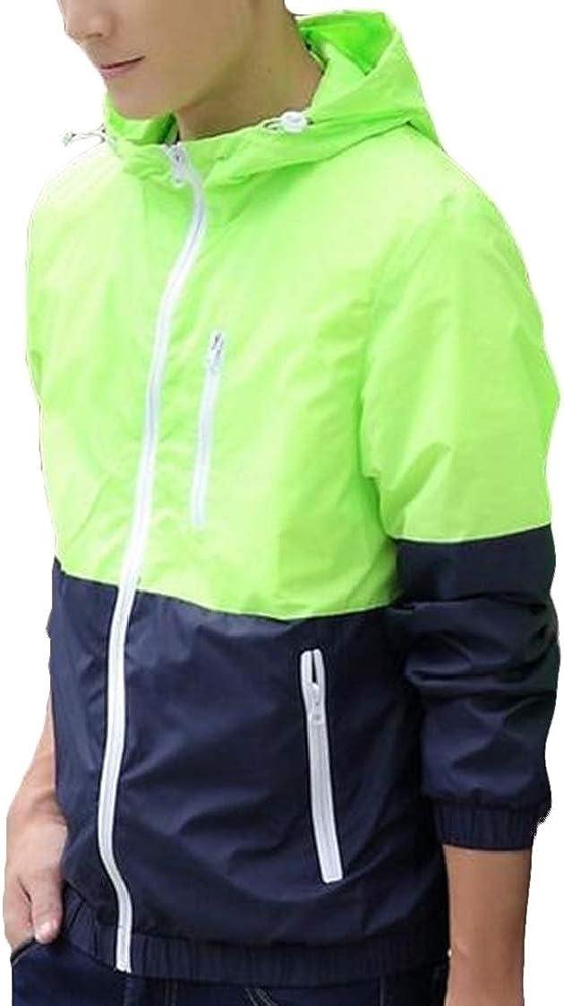 Nanquan Men Lightweight Contrast Hoodie Zip Front Windbreaker Jacket Coat
