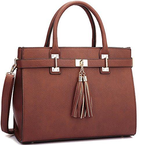 Dasein Designer Buffalo Faux Leather Fringe Tassel Satchel Handbag Purse Briefcase with Shoulder Strap -  XL-14-6848-BR
