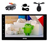 Front & Backup Camera included! Quad Core Stereo Autoradio Double Din Android 6.0 Marshmallow Car Audio System Bluetooth GPS Navigation Head Unit Support WiFi OBD2 Mirro-link + External Microphone