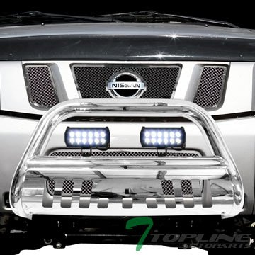 Armada Nissan Bug (Topline Autopart Polished Stainless Steel Bull Bar Brush Push Bumper Grill Grille Guard With Skid Plate + 36W Cree LED Fog Lights For 04/05-15 Nissan Titan ; Armada)