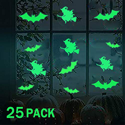 Halloween Wall Decoration Bat and Witch Sticker Decoration, Halloween Creative Removable Fluorescent Wall Decal Wall Sticker for Kids Room Home Door and Window Bedroom Bathroom Decoration - 2 Pack -