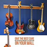 My Guitar Hanger | Heavy Duty Real Hard Wood Quality with Comfortable Grip Guitar Hanger | Perfect for Home Studio Guitars Bass Ukuleles Violins Hanger | Brown Black | Screws Included | 1139