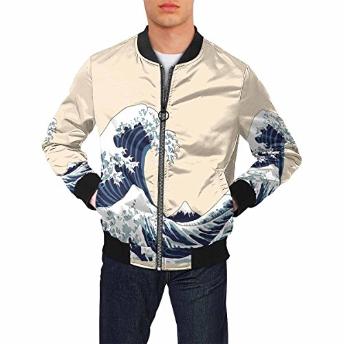 INTERESTPRINT Japanese Motif Japan Men's Lightweight Slim Fit Jacket Casual Wear M