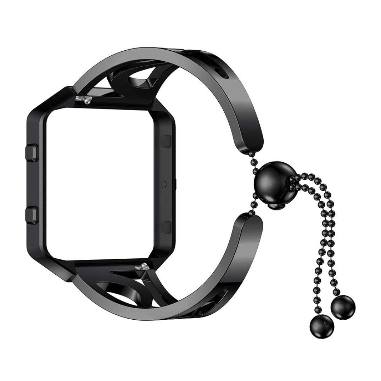 Wristband Watch Strap For fitbit blaze, Saying Brand New Luxurious Fashion Bracelet Replacement Girls Watch Band Strap (Black)