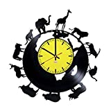 RomanticStuffStore African Animals Vinyl Record Wall Clock - Get Unique Garage or Office Room Wall Decor - Gift Ideas for Men and Women – Interior Vintage Unique Modern Art
