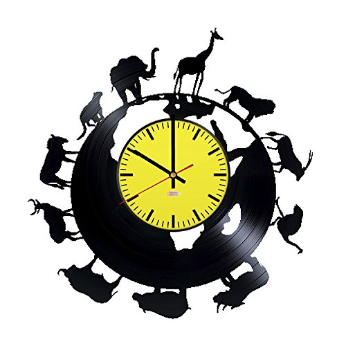 African Animals Vinyl Record Wall Clock - Get unique garage or office room wall decor - Gift ideas for men and women – Interior Vintage Unique Modern - Office Post Clock
