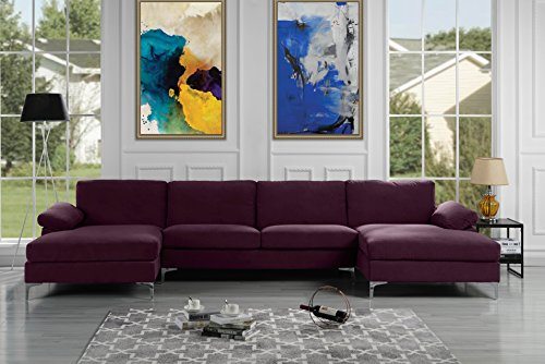 Amazon Com Modern Large Velvet Fabric U Shape Sectional