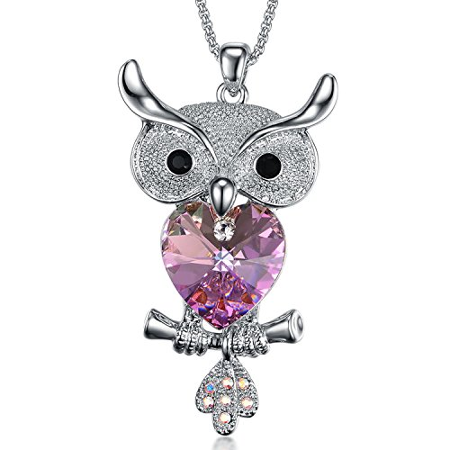 Cute Women Owl Purple Heart Shaped Pendant White Gold Crystal with Rhinestone Necklace