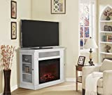 corner fireplace tv stand heater - XtremepowerUS Electric Portable Fireplace with TV Stand, Corner (Ivory, with fireplace)