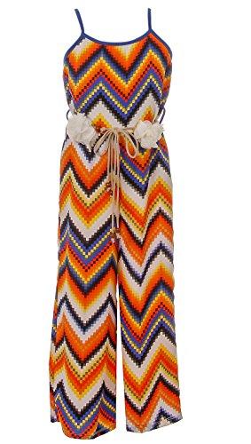 BluNight Collection Big Girls Sleeveless Relax Fit Jumpsuit Chiffon Belt Summer Romper Jumpsuit Orange 14 (2J1K2S7) by BluNight Collection