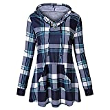WOCACHI Final Clear Out Womens Plaid Hoodies with Pockets Pullover Long Sleeve Tops Sweatshirts Blouses Shirt Black Friday Cyber Monday Drawstring Winter Bottoming Shirts (Blue, XX-Large)