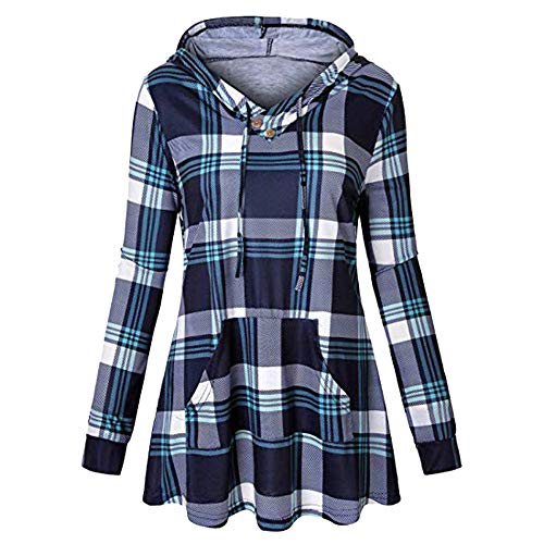 Womens Long Sleeve Plaid Hoodie Sweatshirt with Pocket Drawstring Pullover ()