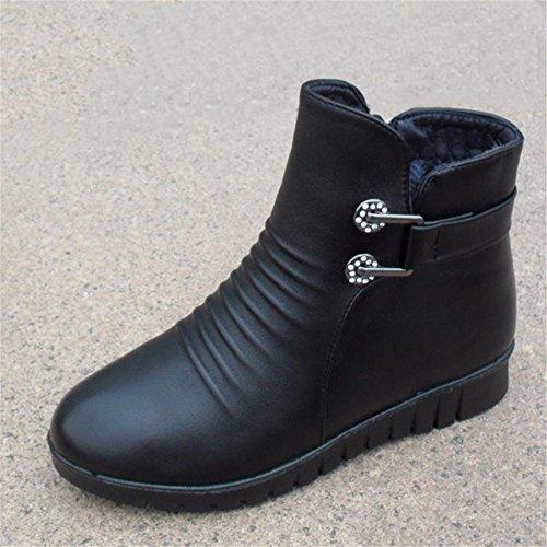 Glatten black HXVU56546 Baumwolle Warme Dicken Schuhe Winter Stiefel Plus Weichen Mode Samt Schuhe 47w8qC4