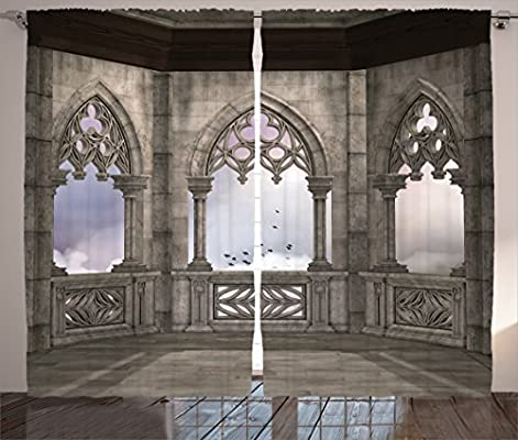Ambesonne Gothic Decor Collection Medieval Stone Balcony With