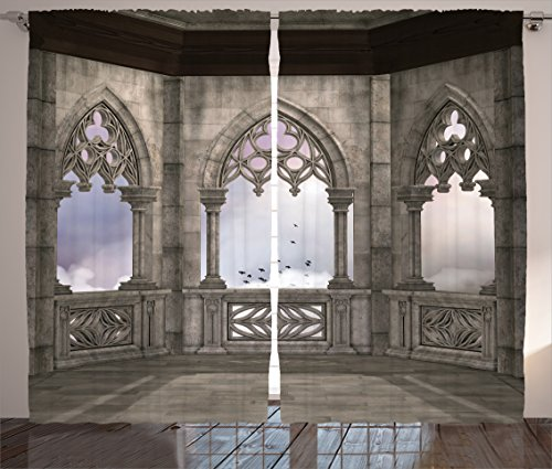 Ambesonne Gothic Decor Collection, Medieval Stone Balcony with Curvings Graphic Design Mystic Middle Age Legend Story Print, Living Room Bedroom Curtain 2 Panels Set, 108 X 90 Inches, Grey Purple